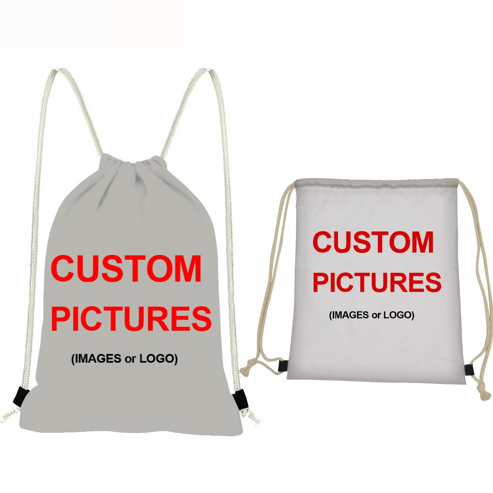 NOISYDESIGNS Customize Picture Or Logo Drawstring Bags Women/Men Small Backpack Casual Ruck Sack Children Cinch Daily Mochila