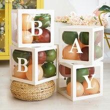 Caja transparente de plástico con forma de cubo para decoración de fiestas de cumpleaños, paquete de suministros para Baby Shower, 30cm