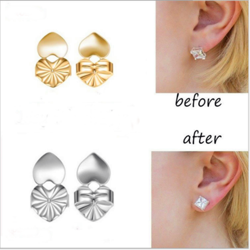 Earring Backs Support Butterfly Earring Lifts Fits All Post Earrings Set Gold Color Silver Color Earrings Jewelry Accessories