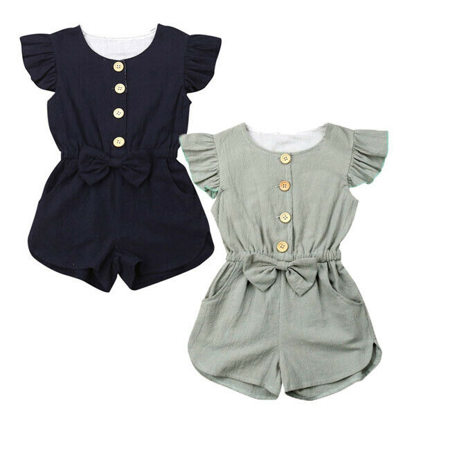 1-6Years Toddler Kids Baby Girl Button Sleeveless Ruffle Playsuit Jumpsuit Outfits Clothes Summer Outfits