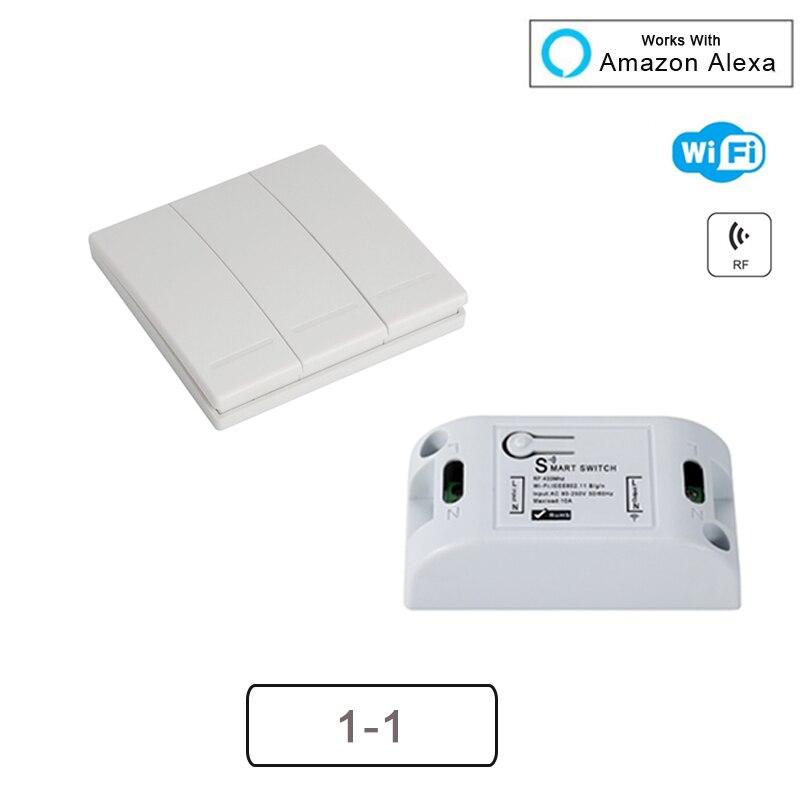 H4bf7f62ea54642efab117cb6ad1efd22F - QIACHIP Smart Home Wifi Switch 10A 2200W 433Mhz Wireless RF Remote Control Switch For Alexa Google Home Timer Automation Module