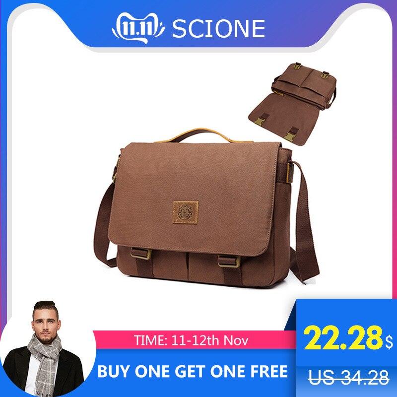 Scione Men Canvas Messenger Bags Men's Handbags Vintage Travel Shoulder Bags Male Briefcase Business Functional Messenger Bag