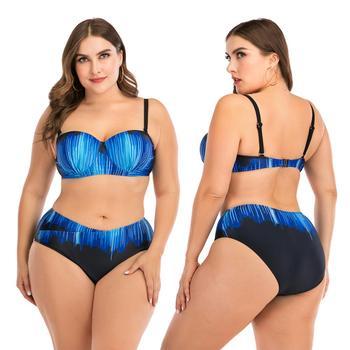 2019 plus size swimwear two piece women big cup swimsuit large size sexy bikinis bathing suits swimming suit beach maio feminino Bikini Swimsuit Bikinis 2020 Woman Plus Size Swimwear Women Bikini 2020 Women's Two-piece Swimming Suit for Women Bathing Suits