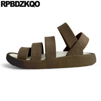 native brown roman fashion waterproof slippers slides strap rubber flat water shoes men gladiator sandals summer slip on soft
