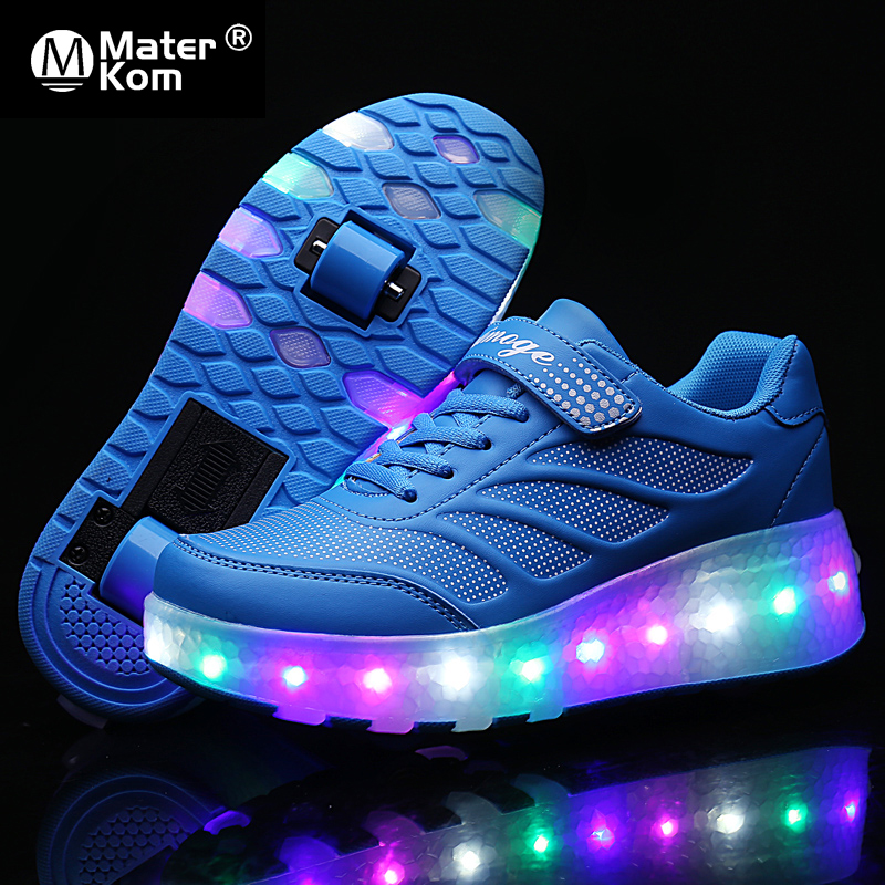 Size 28-43 LED Roller Sneakers For Children USB Charging Luminous Sneakers With Double Wheels For Kids Skate Shoes With Lights