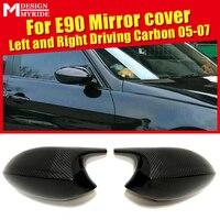 غطاء مرآة لسيارة BMW E90 غطاء 3 سيدان يُضاف على نمط M3 نظرة 100% يُستخدم في تجفيف الألياف الكربونية من قطعتين للاستبدال 2005 07-في مرآة وأغطية من السيارات والدراجات النارية على