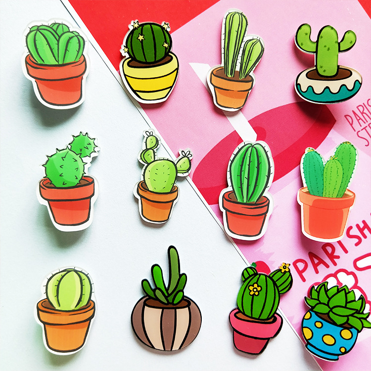 1PCs Cartoon DIY Cactus Bonsai Brooch Acrylic Badges Icons On The Backpack Pin Badge Decoration Badges For Women Girl Clothes
