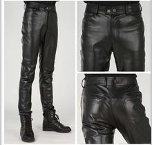 Duże rozmiary nowe spodnie skórzane męskie osobowości motocykl lokomotywa szwy spodnie ze skóry sztucznej hiphopowy sweter mężczyzn odzież 2020 tanie tanio Ao Mi Ke Rong Proste Mieszkanie Poliester Faux leather NONE REGULAR Na co dzień Midweight Suknem Pełnej długości Zipper fly