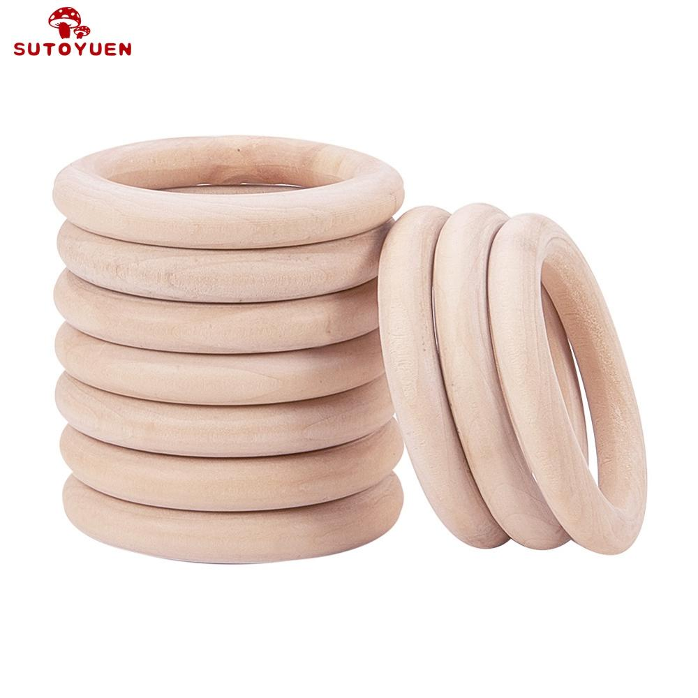 Sutoyuen Baby Teether 100pcs Wooden Round Wood Ring 40 70mm DIY Bracelet Crafts Gift Wood Teether Natural Teething AccessoryBaby Teethers   -