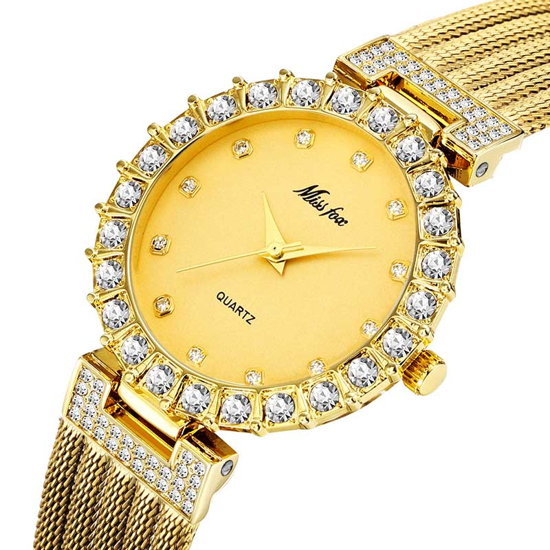 MISSFOX Women Watches Luxury Brand Watch Bracelet Waterproof Big Lab Diamond Ladies Wrist Watches For Women Quartz Clock Hours 5