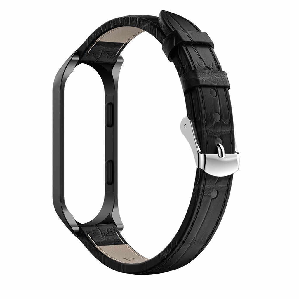 Pulseira de couro para xio mi xao mi banda 4 band4 pulseiras pulseira de montre pulseira de reloj