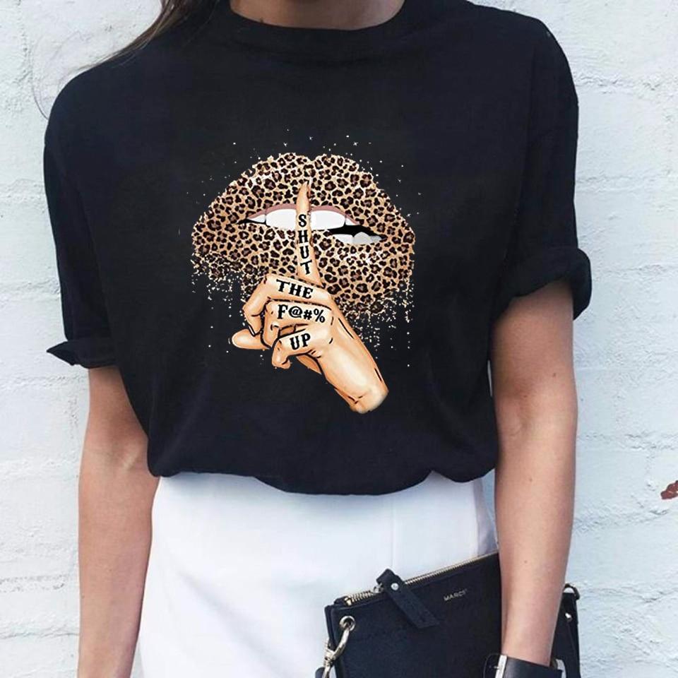 Women T Shirt Lips Leopard Funny Print Labios T-shirt Hipster Costume Women Tshirt Summer Leopardo Lip Tee Shirt Kleding Vrouwen