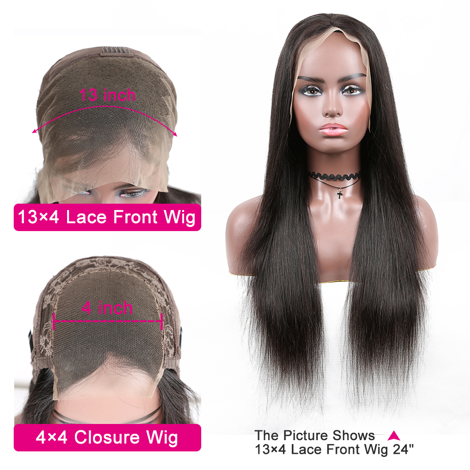 YYONG 4X4 & 13x4 Lace Front  Wigs    Straight  Lace Closure Wig Baby Hair 30inch 130% 2