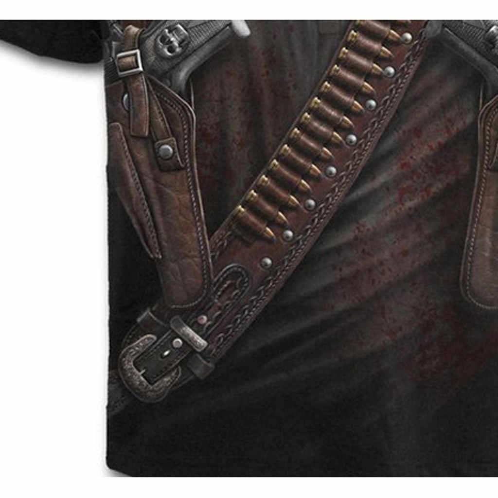 2019 мужские футболки Новая мода лето западный ковбой Печать Круглый вырез Тонкий Фитнес короткий рукав Топ рубашка блузка крутая # YL10