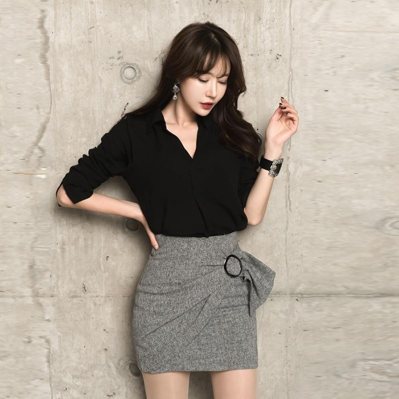 WOMEN'S Dress 2018 Autumn New Products Ol Career Elegant Fold-down Collar Shirt Sheath Base Skirt Set