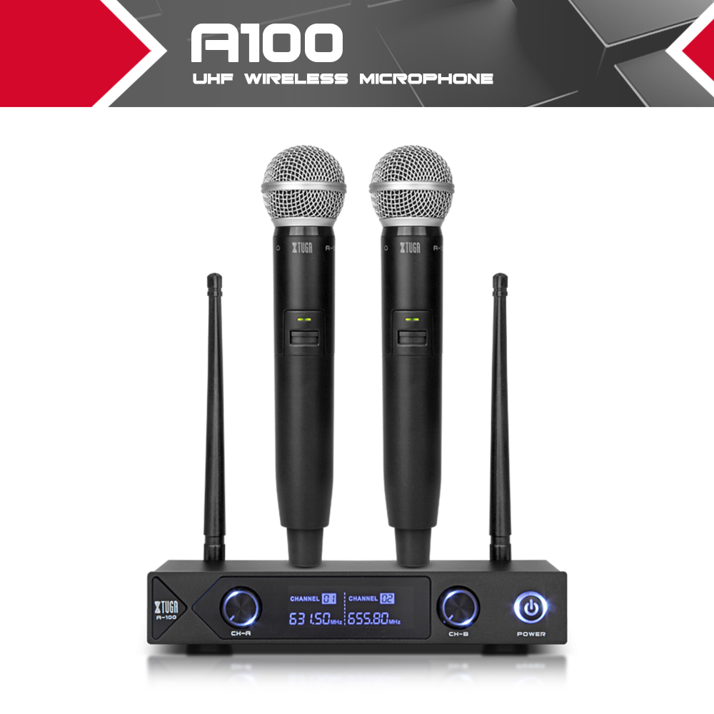 XTUGA Audio A-100 2 Channel Cordless Microphone System UHF Wireless Karaoke Microphone System 2 Mic Use For Family Party, Church