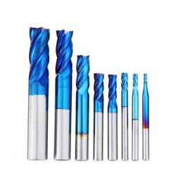 8 piezas Azul 2-12mm 4 Flutes carburo extremo molino conjunto HRC50 herramienta de fresado de acero de tungsteno para perforación de madera de plástico de Metal