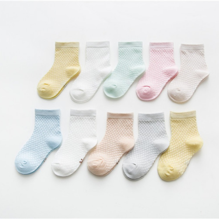 19 Spring And Summer New Style Children's Socks Mesh Breathable Baby Socks Solid Color Thin Men And Women Children's Socks 0-9-Y