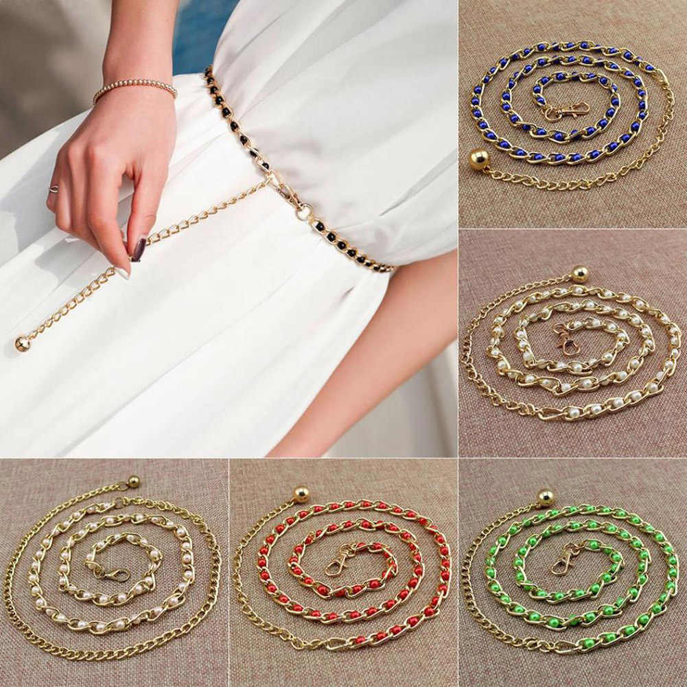 Women's Luxury Thin Slim Metal Waist Belts Harajuku Solid Color Imitation Pearl Beads Chain Belts For Dress Decorative Waistband