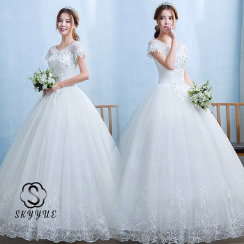 Skyyue Embroidery Wedding Dress FR706 Embroidery Crystal Vestidos De Novia Floor-Length Bridal Gowns Lace Up Wedding Dresses