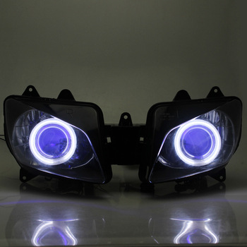 Motorcycle Front Custom Projector HID Headlight Assembly Blue Angel Eyes For Yamaha YZF R1 2000-2001
