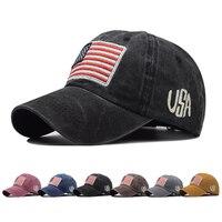 Boné de beisebol lavado denim esporte ao ar livre boné de beisebol chapéu feminino eua bandeira americana sinal bordado primavera outono boné