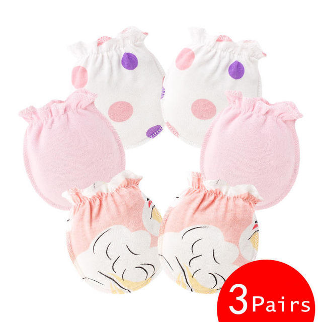 pink cotton mittens