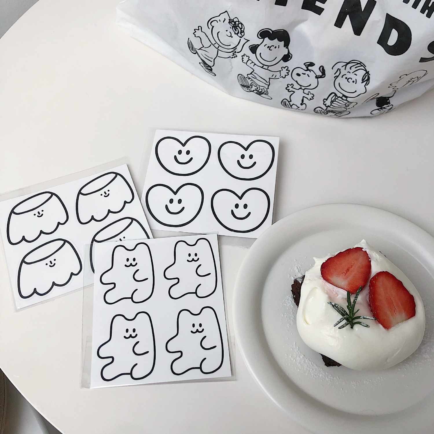 Ins Cartoon Pudding Love Little Bear Decorative Stickers Kawaii Concise Decoration Small Pattern Hand Account Book Seal Sticker
