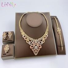 Fashion Dubai Bridal Jewelry Sets Crystal Necklace Bracelet Elegant Women Flower Shape Earrings Ring for Women Wedding Jewelry