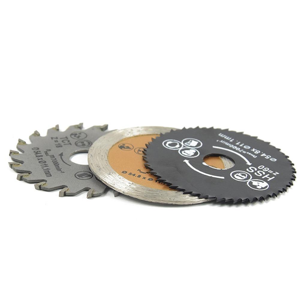 3pcs Mini Wood Circular Saw Blade Setangle Grinder Disc Circular Saw Rotary Tool Used To Cut Wood And Aluminum Metal 54.8mm HSS