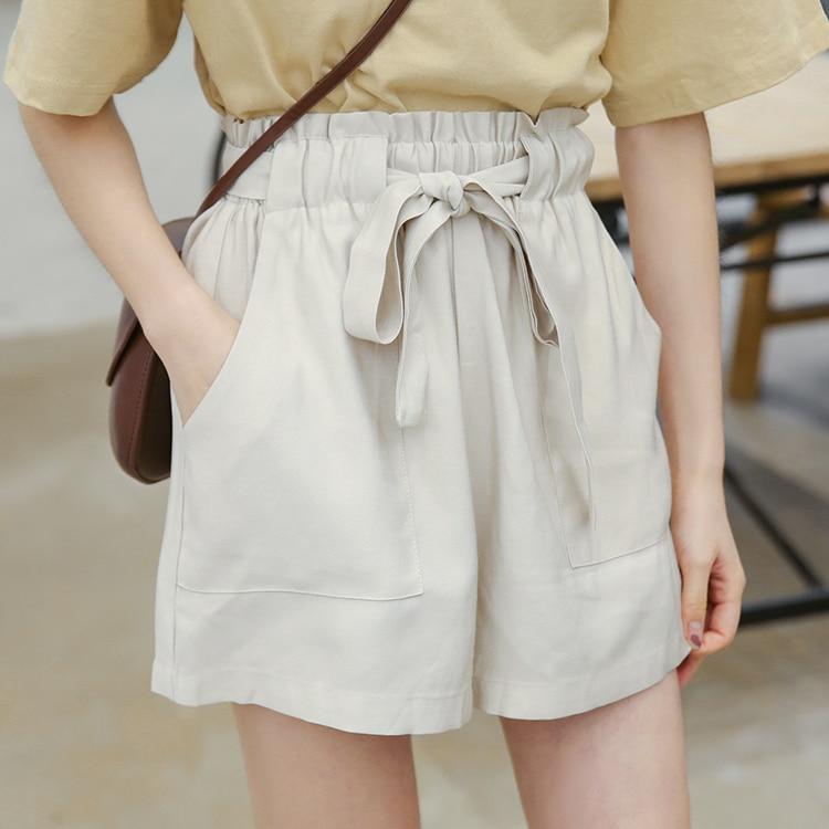 2020 Summer Shorts High Waist Wide Leg Cotton Shorts Korean Womens Clothing Solid Color