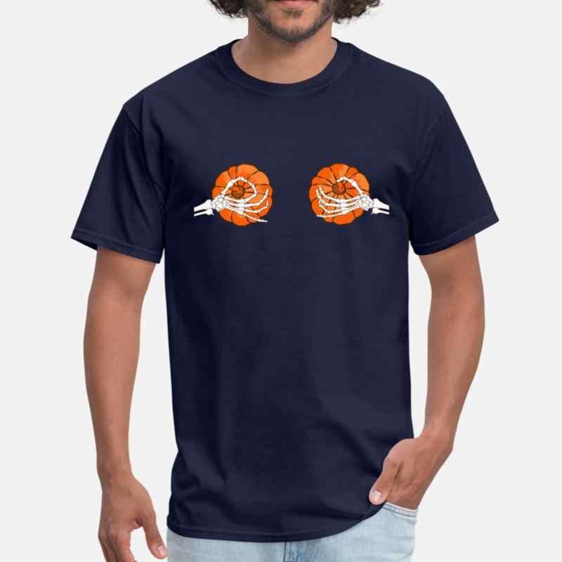 هالوين اليقطين بيكيني الهيكل العظمي اليقطين الثدي الرجال التي شيرت قميص برقبة مستديرة للنساء الرجال الطبيعية المحملة قميص قصير الأكمام أوم الهيب هوب