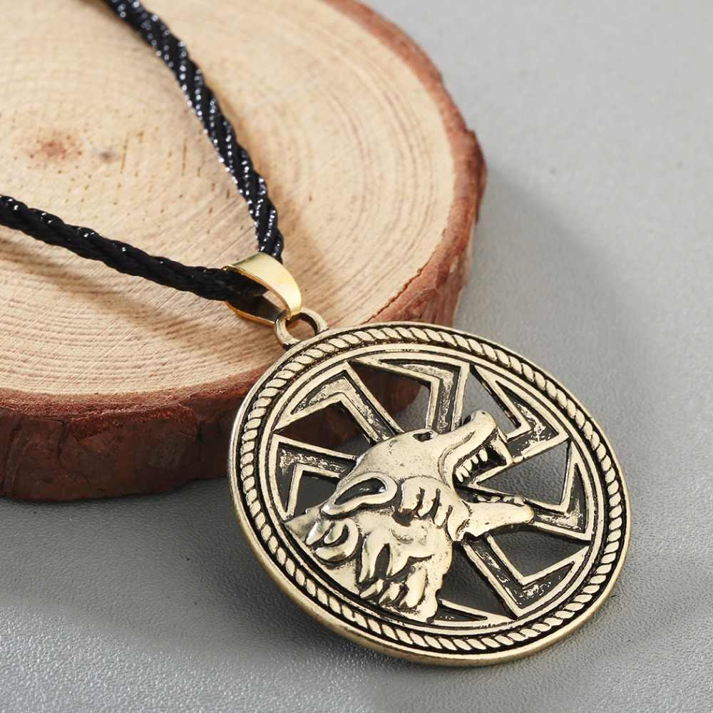 Chandler lobo colar redondo kolovrat charme vintage colares masculinos animal nórdico viking jóias