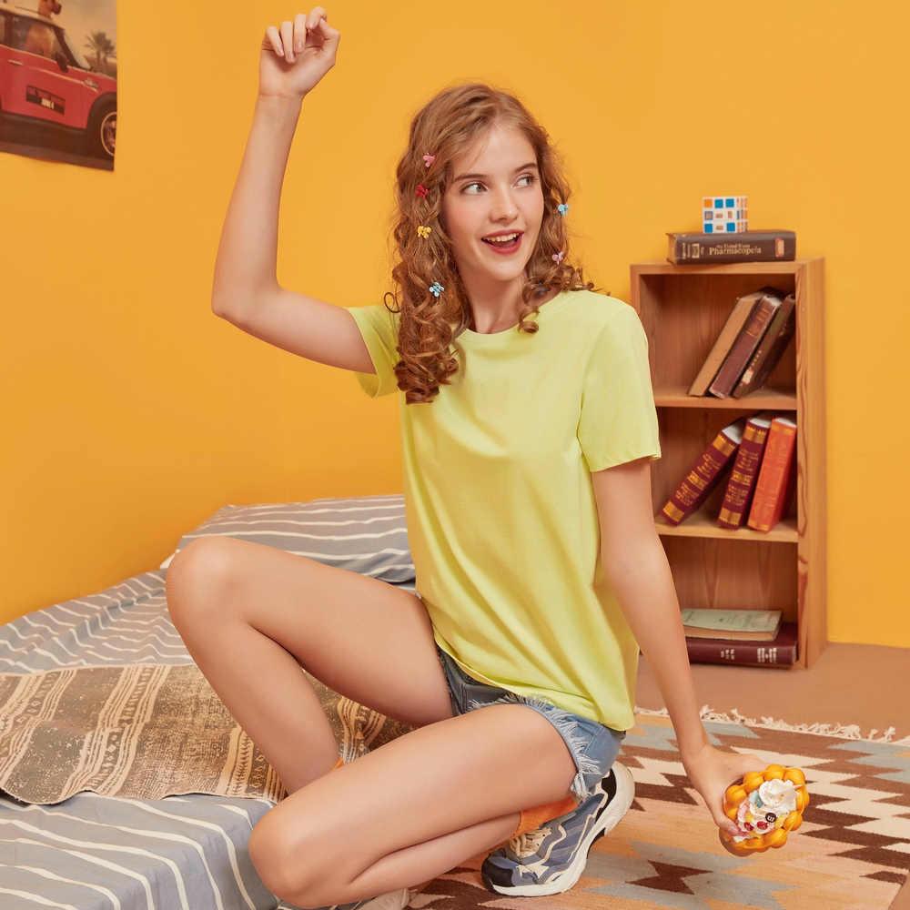 Metersbonwe Baru Kapas Harajuku Estetika Tshirt Lengan Pendek Warna Solid Atasan & Fashion Kaos Santai Beberapa Dasar T Shirt