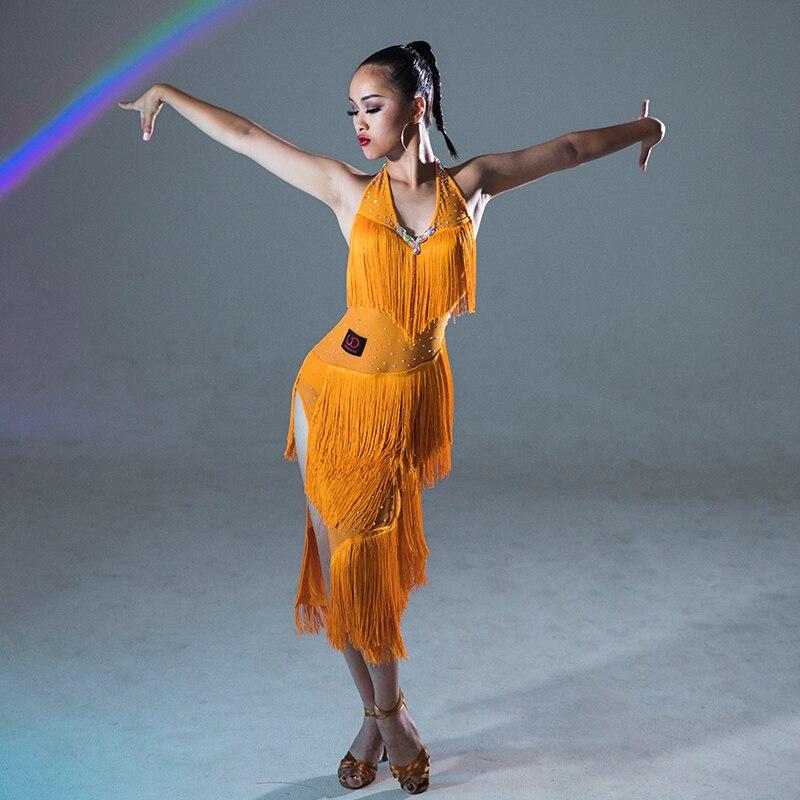 Sexy Latin Dance Dress Yellow Rhinestone Tassel Skirts Professional Competition Dress Fringe Dress Stage Wear Costumes DQS2947