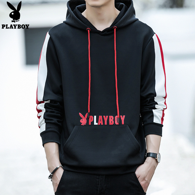 PLAYBOY Fashion Men Korean-style Slim Fit Round Neck Sweater Youth Pullover Hoody Large Size Hoodie Base Shirt Men's