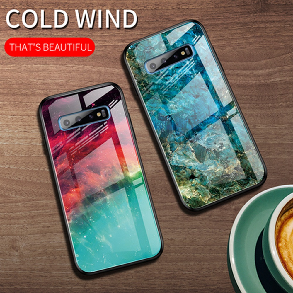 OTAO Gradient Tempered Glass <font><b>Case</b></font> For <font><b>Samsung</b></font> <font><b>Galaxy</b></font> Note10 Pro S10 S9 Plus A10 A20 A50 A70 A7 Marble Back Cover TPU Bumper <font><b>Case</b></font> image