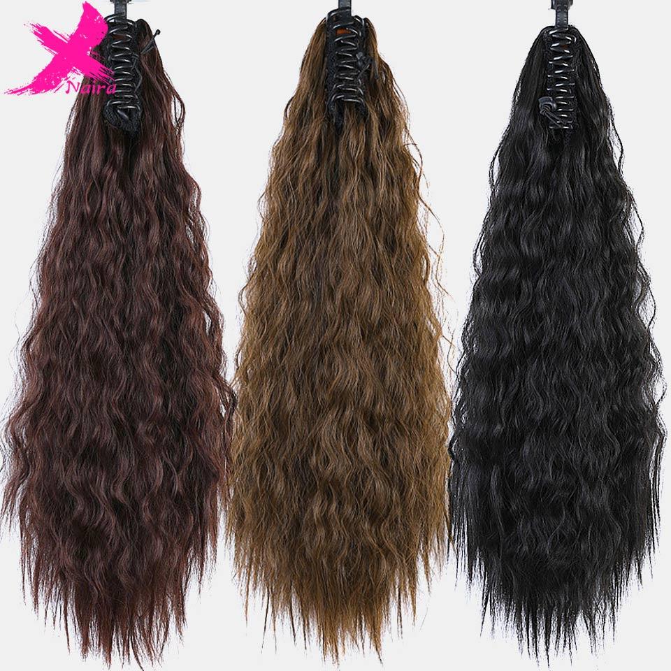 Longo Kinky Curly Cordão Rabo de Cavalo Grampo Em Extensões de Cabelo Rabo de cavalo Bun Peças Falso Afro Peruca Sintética Extensão Do Cabelo