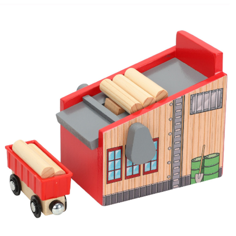 Friends Wooden Track Scene Accessories Lumber Yard Compatible with Rail Car Platform Wood Track Track Train Railway