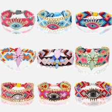 Dvacaman Handgemaakte Weave Katoen Armband Crystal Eye Bloem Charme In Armband Voor Vrouwen Sieraden Fashion Party Gift Drop Shipping(China)