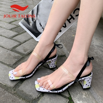JOUIR TALONS 2020 Brand Design Kid Suede Women Sandals Square Heels Peep Toe Riband Pumps Summer Casual Woman Shoes