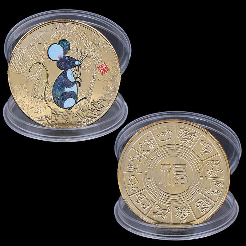 Tahun Tikus Koin Peringatan Zodiak Cina Souvenir Tantangan Koin Tertagih Koleksi Seni Kerajinan