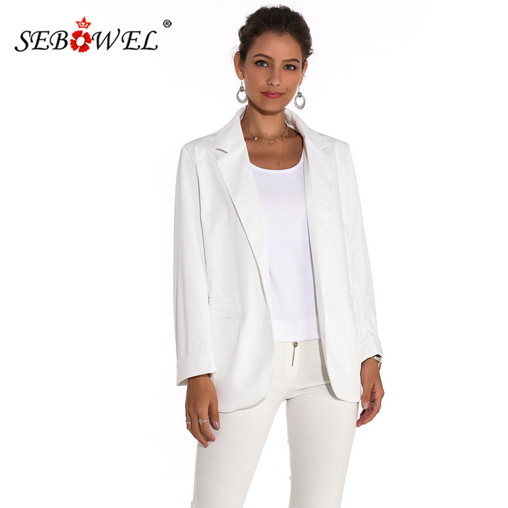 SEBOWEL Fashion Women Curled Long Sleeve Blazer Suit Jacket Work Office Lady Slim Front Open Blazer High Quality 8 Colors S-XXL