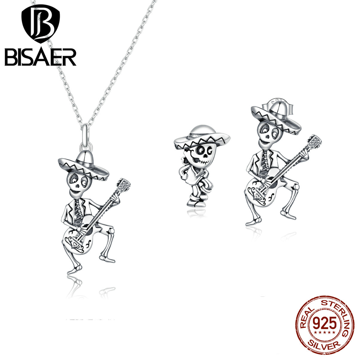 BISAER Genuine 925 Sterling Silver Jewelry Sets Skull Man with GuitarJewelry Set Luxury Authentic Silver Jewelry WES209