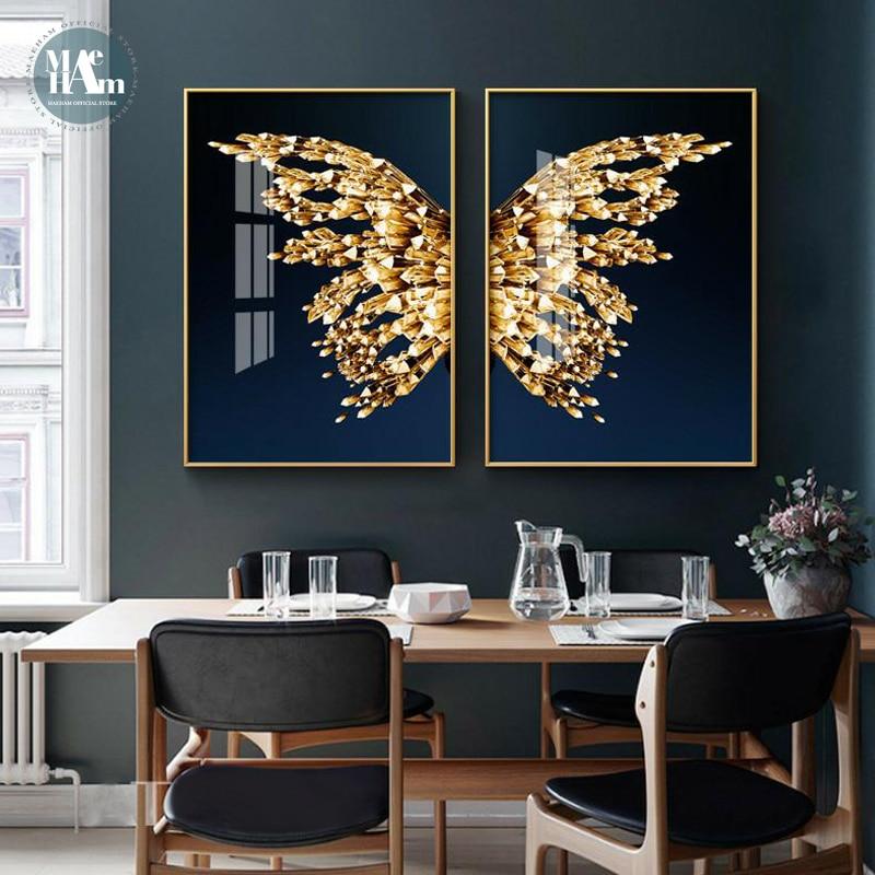 Скандинавская Золотая Бабочка золотого цвета оформление в современном стиле Картина на холсте художественное оформление коридора гостино...