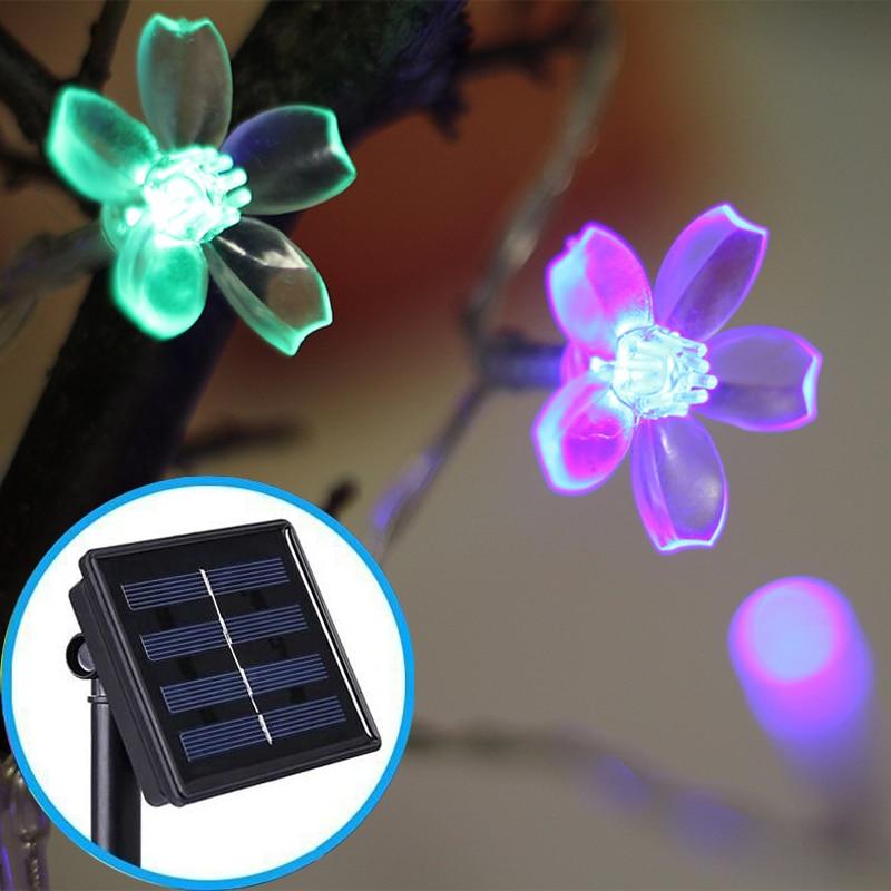 Solar Powered LED String Lights Cherry Blossom Fairy Garland Flower Wedding Christmas Garden Outdoor Waterproof Holiday Lighting