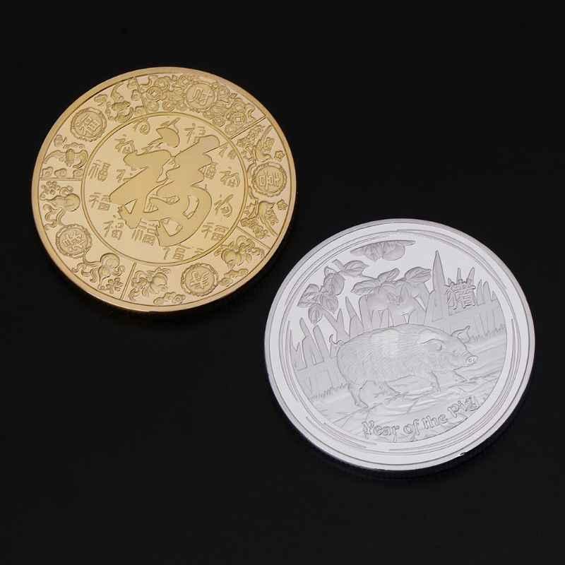 2019 moeda comemorativa porco ano coleção aniversário artes colecionáveis animais colecionáveis moedas