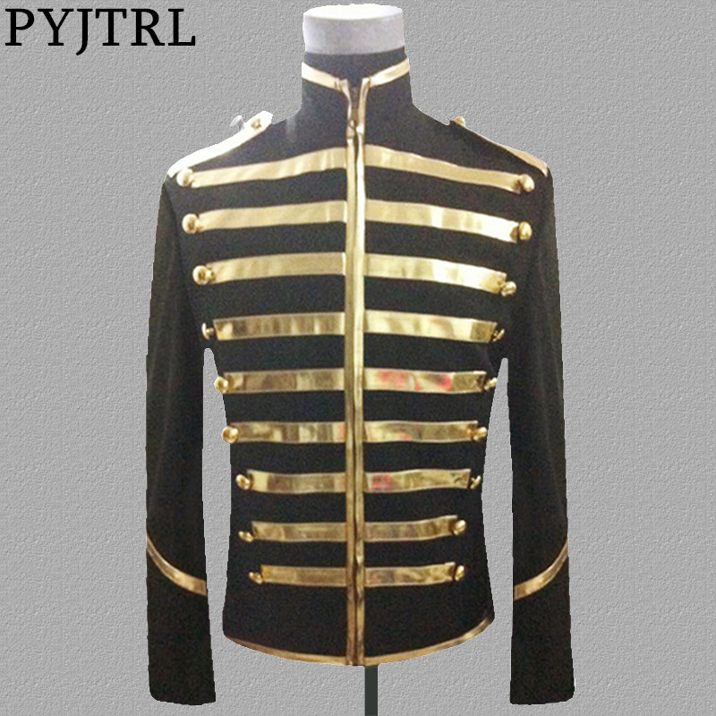 PYJTRL Tide Blazer Men Mandarin Collar Gold Silver Stage Suit Jacket Party Dress Singers Clothing