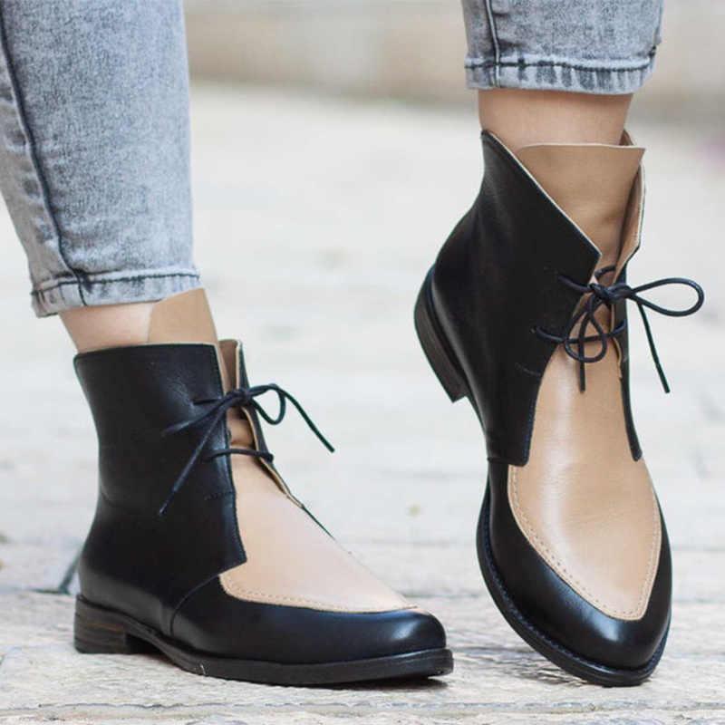 MCCKLE yarım çizmeler kadın platformu Lace Up toka ayakkabı kalın topuk kısa çizme bayanlar rahat ayakkabılar artı boyutu damla nakliye