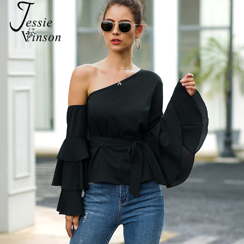 Jessie Vinson Chiffon Flare Sleeve Off Shoulder Blouse Women Long Sleeve Black Womens Tops And Blouses Chic Shirts Ladies Tops